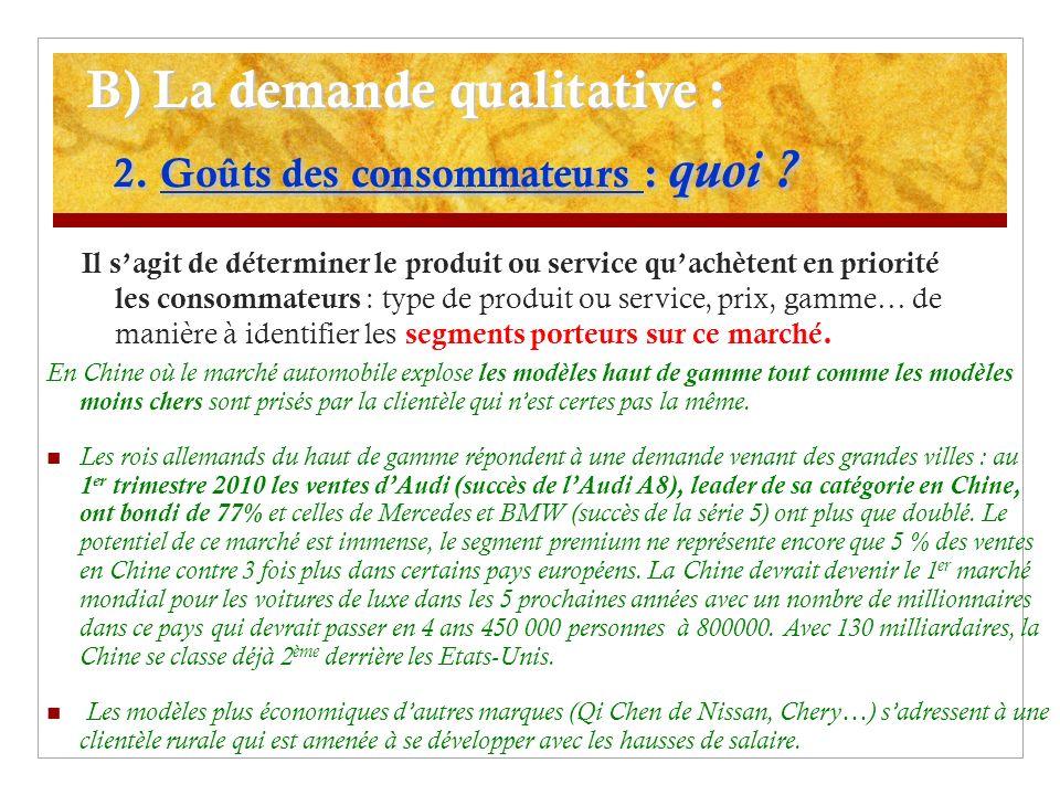 B) La demande qualitative : 2. Goûts des consommateurs : quoi ? Il sagit de déterminer le produit ou service quachètent en priorité les consommateurs