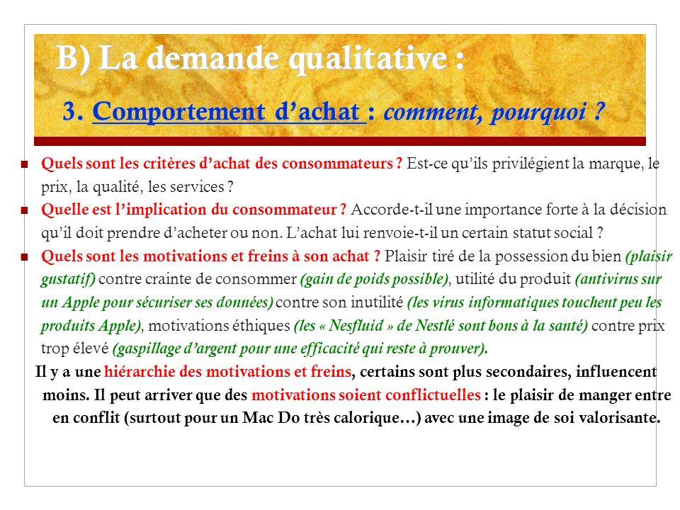 B) La demande qualitative : 3.Comportement dachat : comment, pourquoi .
