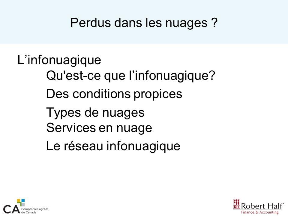 Types de nuages Nuage hybride Nuage privé ( Actifs de lentreprise) Nuage public A (Fournisseur A) Nuage public G (Fournisseur G) Nuage public M (Fournisseur M) Nuage public Z (Fournisseur Z) Nuage hybride
