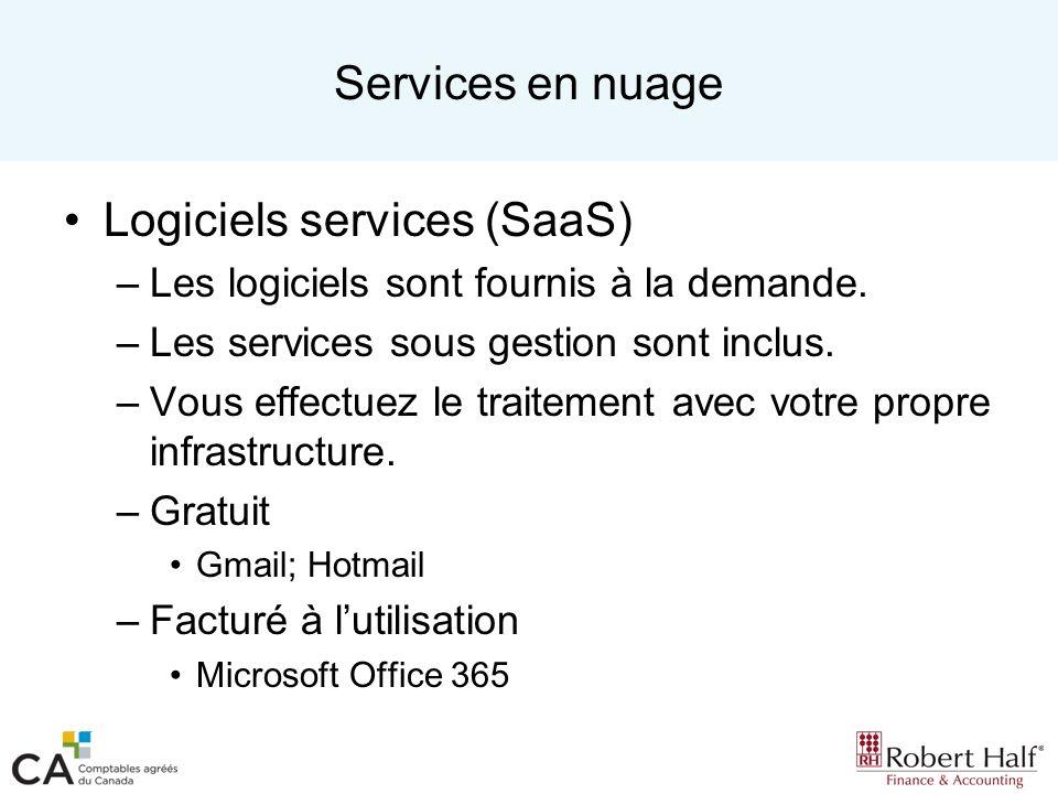 Services en nuage Logiciels services (SaaS) –Les logiciels sont fournis à la demande. –Les services sous gestion sont inclus. –Vous effectuez le trait