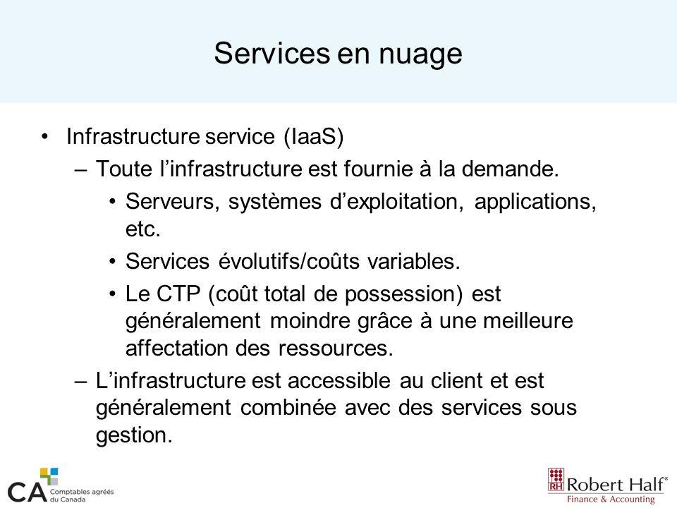 Services en nuage Infrastructure service (IaaS) –Toute linfrastructure est fournie à la demande. Serveurs, systèmes dexploitation, applications, etc.
