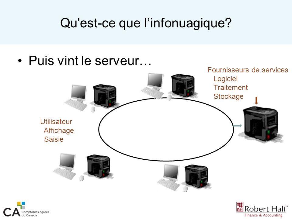 Services en nuage Logiciels services (SaaS) –Les logiciels sont fournis à la demande.