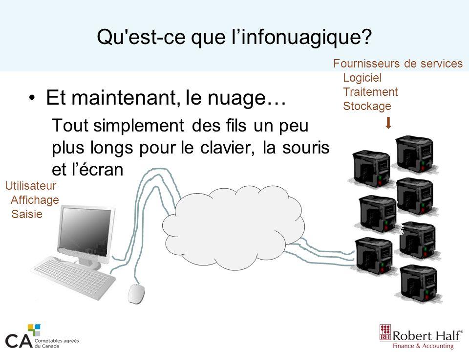 Services en nuage Plateformes services (PaaS) –Les ressources logicielles et linfrastructure sont fournies à la demande.