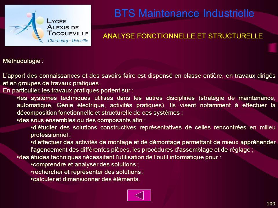 BTS Maintenance Industrielle 100 ANALYSE FONCTIONNELLE ET STRUCTURELLE Méthodologie : L'apport des connaissances et des savoirs-faire est dispensé en