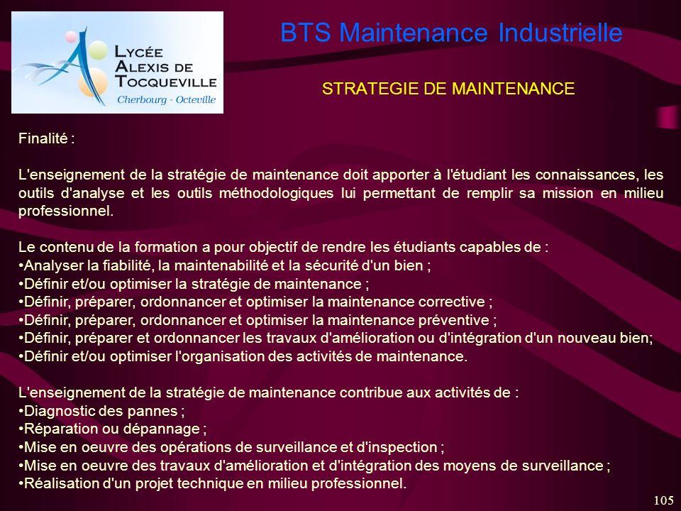 BTS Maintenance Industrielle 105 STRATEGIE DE MAINTENANCE Finalité : L'enseignement de la stratégie de maintenance doit apporter à l'étudiant les conn