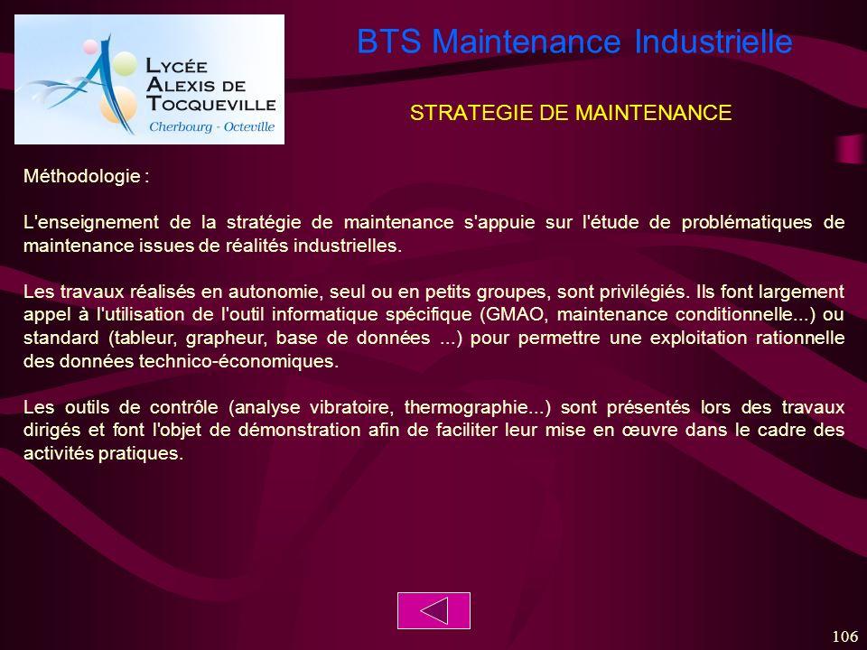 BTS Maintenance Industrielle 106 STRATEGIE DE MAINTENANCE Méthodologie : L'enseignement de la stratégie de maintenance s'appuie sur l'étude de problém
