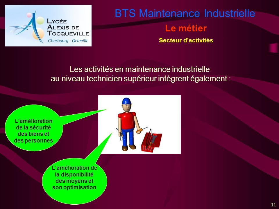 BTS Maintenance Industrielle 11 Le métier Secteur d'activités L'amélioration de la sécurité des biens et des personnes L'amélioration de la disponibil