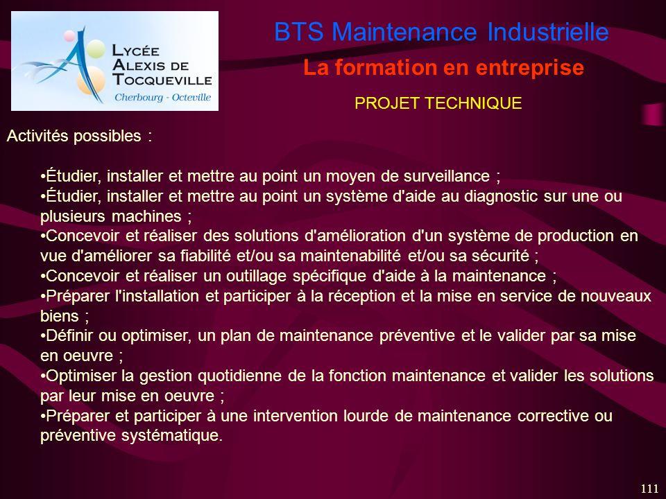 BTS Maintenance Industrielle 111 La formation en entreprise Activités possibles : Étudier, installer et mettre au point un moyen de surveillance ; Étu