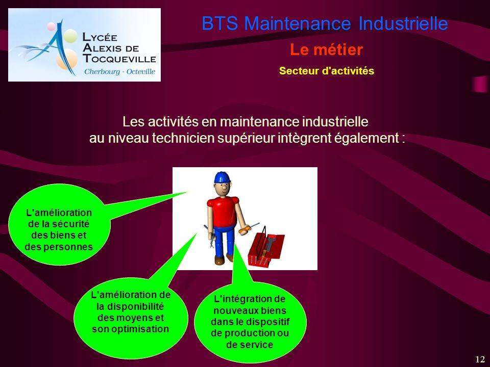 BTS Maintenance Industrielle 12 Le métier Secteur d'activités L'amélioration de la sécurité des biens et des personnes L'amélioration de la disponibil
