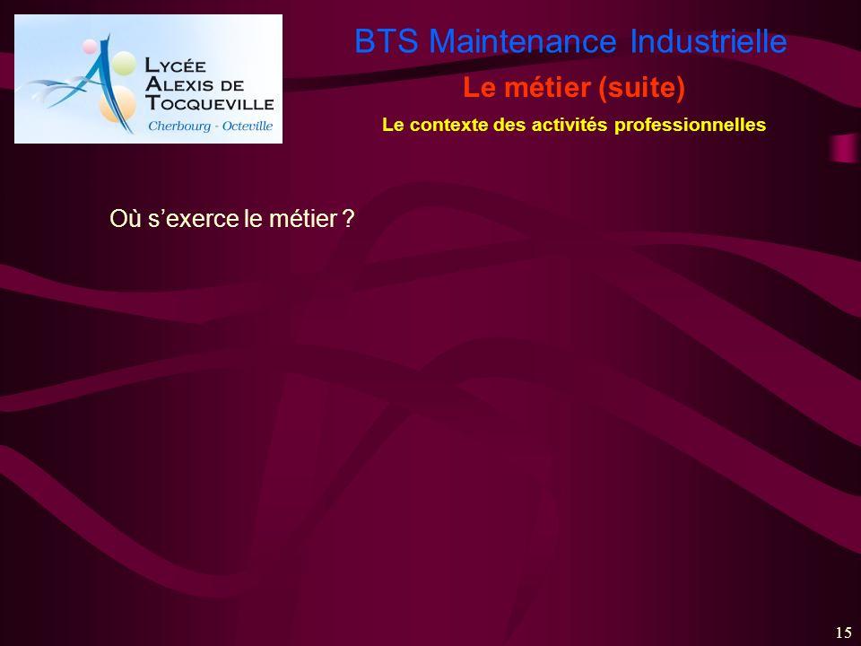 BTS Maintenance Industrielle 15 Le métier (suite) Le contexte des activités professionnelles Où sexerce le métier ?