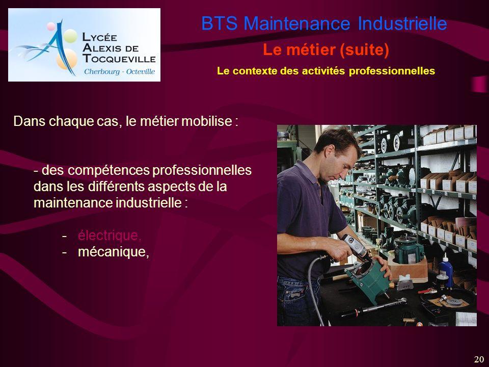 BTS Maintenance Industrielle 20 Le métier (suite) Le contexte des activités professionnelles Dans chaque cas, le métier mobilise : - des compétences p