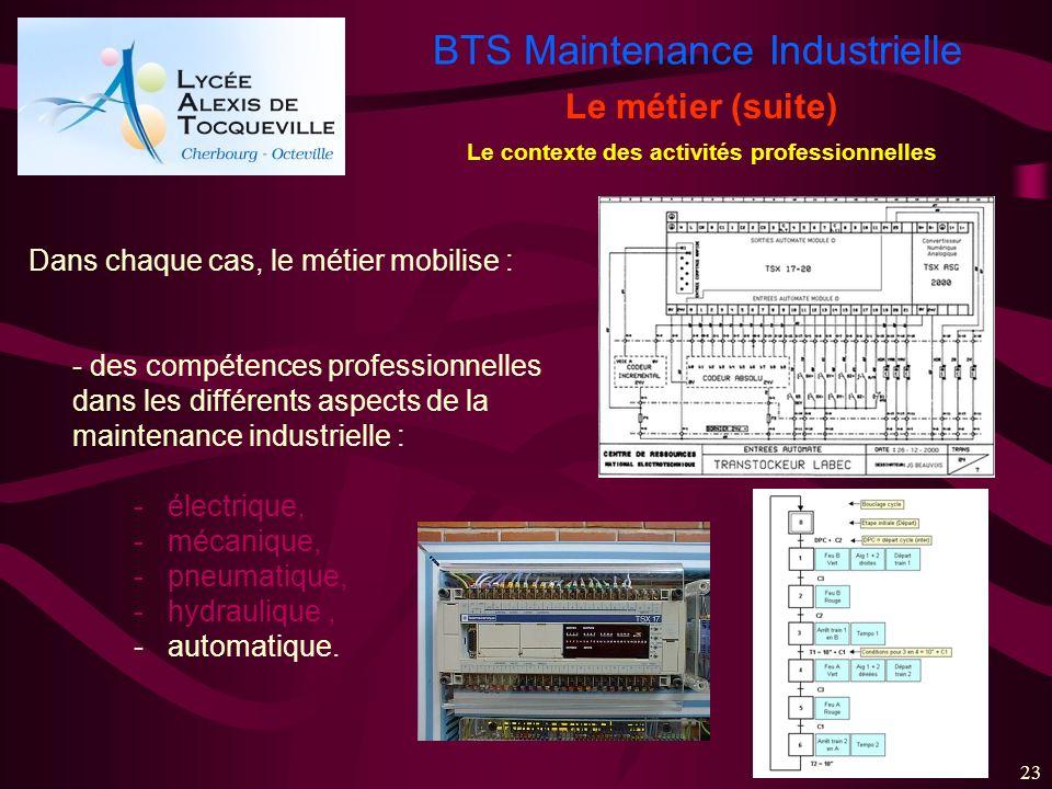 BTS Maintenance Industrielle 23 Le métier (suite) Le contexte des activités professionnelles Dans chaque cas, le métier mobilise : - des compétences p