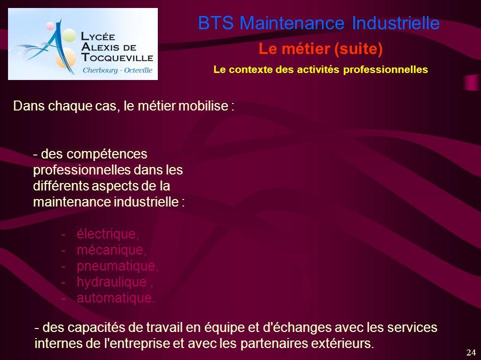 BTS Maintenance Industrielle 24 Le métier (suite) Le contexte des activités professionnelles Dans chaque cas, le métier mobilise : - des compétences p
