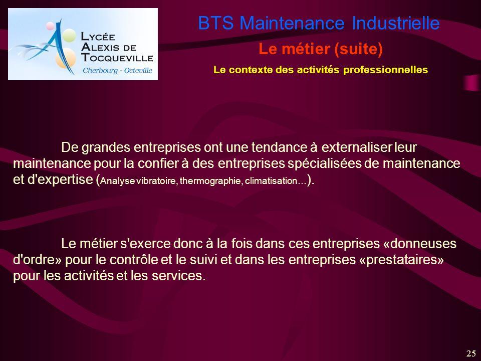 BTS Maintenance Industrielle 25 Le métier (suite) De grandes entreprises ont une tendance à externaliser leur maintenance pour la confier à des entrep