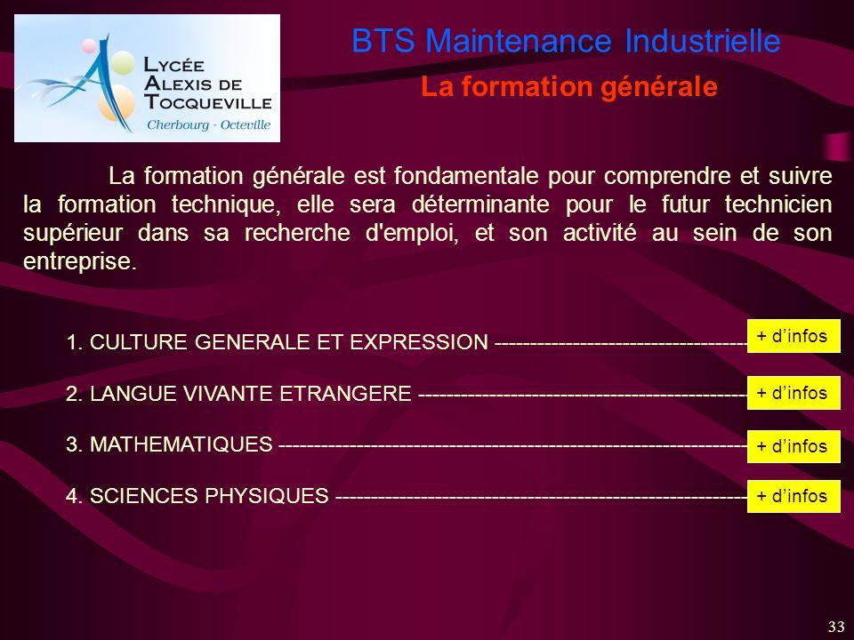 BTS Maintenance Industrielle 33 La formation générale La formation générale est fondamentale pour comprendre et suivre la formation technique, elle se
