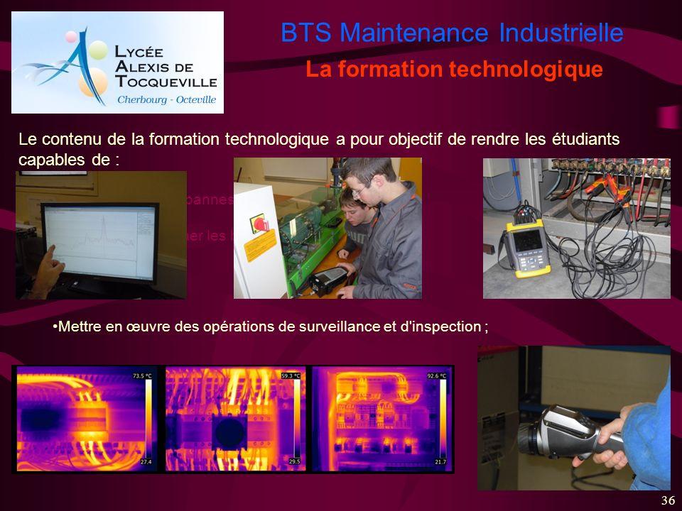 BTS Maintenance Industrielle 36 La formation technologique Le contenu de la formation technologique a pour objectif de rendre les étudiants capables d
