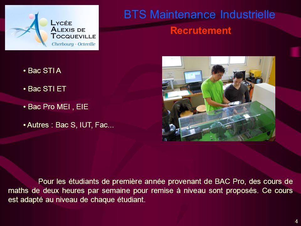 BTS Maintenance Industrielle 4 Recrutement Bac STI A Bac STI ET Bac Pro MEI, EIE Autres : Bac S, IUT, Fac... Pour les étudiants de première année prov