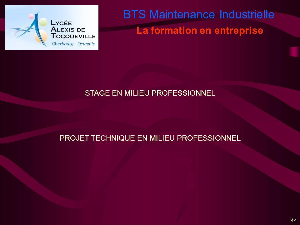 BTS Maintenance Industrielle 44 La formation en entreprise STAGE EN MILIEU PROFESSIONNEL PROJET TECHNIQUE EN MILIEU PROFESSIONNEL