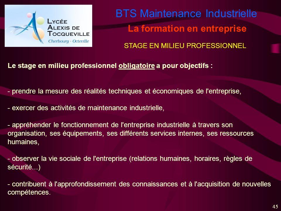 BTS Maintenance Industrielle 45 La formation en entreprise STAGE EN MILIEU PROFESSIONNEL Le stage en milieu professionnel obligatoire a pour objectifs