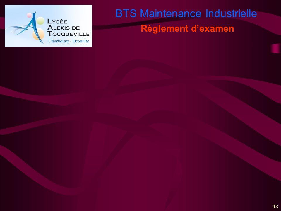 BTS Maintenance Industrielle 48 Règlement dexamen