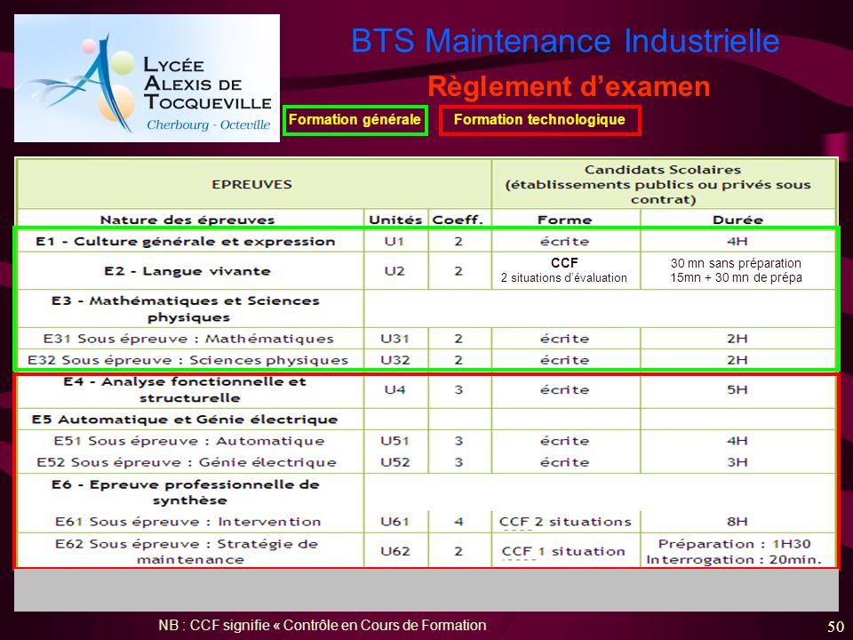 BTS Maintenance Industrielle 50 Règlement dexamen NB : CCF signifie « Contrôle en Cours de Formation Formation généraleFormation technologique CCF 2 s