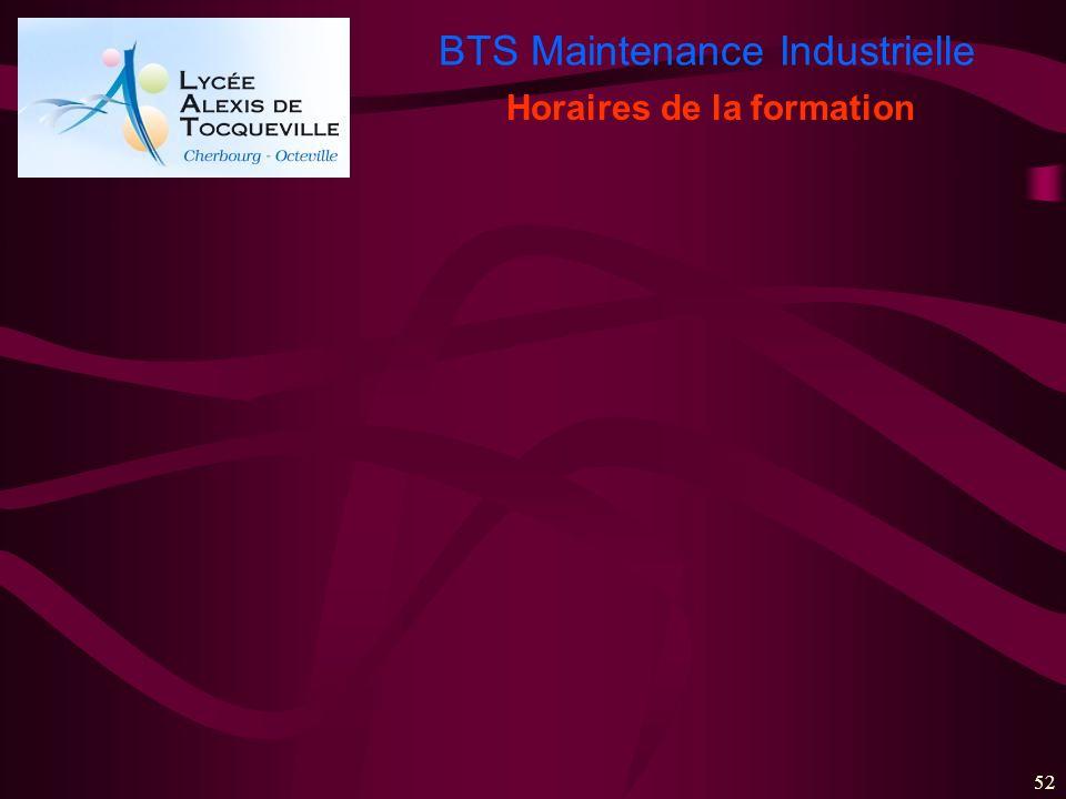 BTS Maintenance Industrielle 52 Horaires de la formation