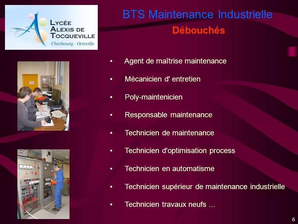 BTS Maintenance Industrielle 6 Agent de maîtrise maintenance Mécanicien d' entretien Poly-maintenicien Responsable maintenance Technicien de maintenan