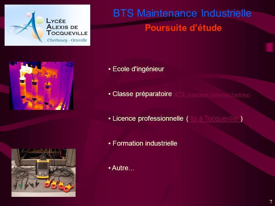 BTS Maintenance Industrielle 7 Ecole d'ingénieur Classe préparatoire ATS (Adaptation Technicien Supérieur) ATS (Adaptation Technicien Supérieur) Licen