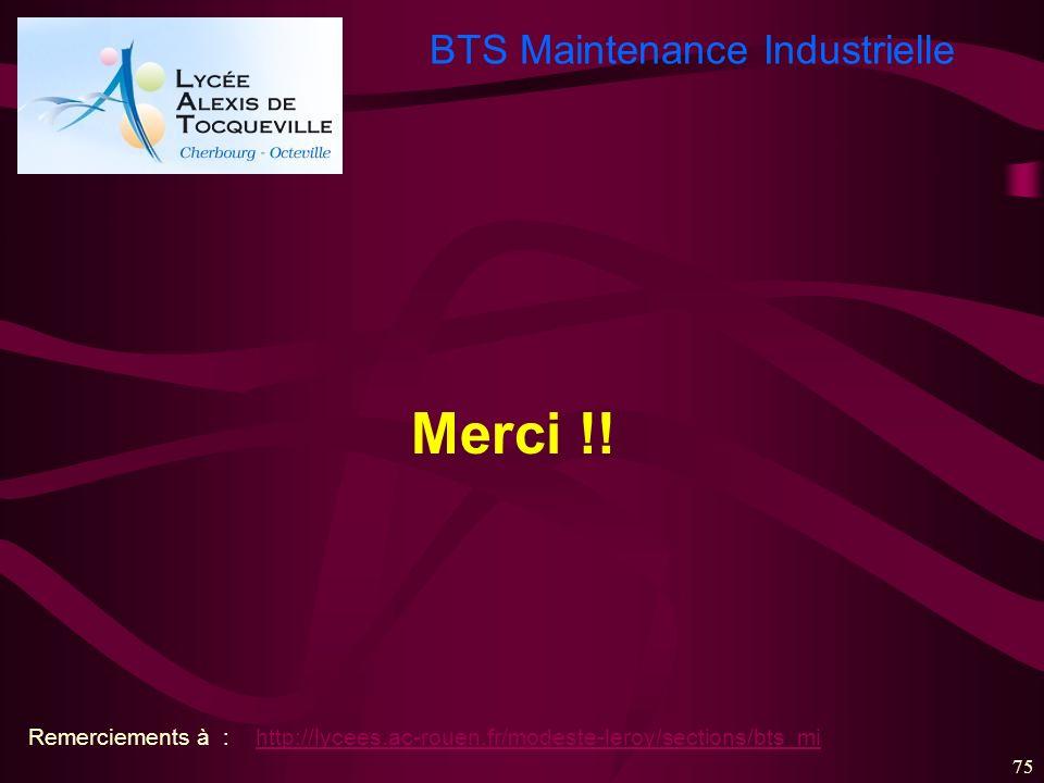 BTS Maintenance Industrielle 75 Merci !! Remerciements à : http://lycees.ac-rouen.fr/modeste-leroy/sections/bts_mihttp://lycees.ac-rouen.fr/modeste-le