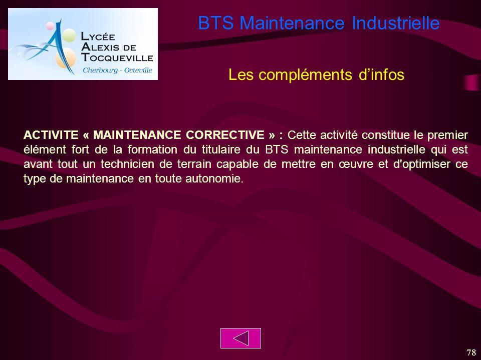 BTS Maintenance Industrielle 78 ACTIVITE « MAINTENANCE CORRECTIVE » : Cette activité constitue le premier élément fort de la formation du titulaire du