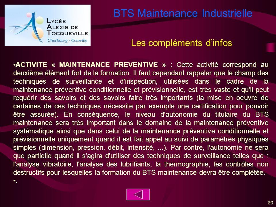 BTS Maintenance Industrielle 80 ACTIVITE « MAINTENANCE PREVENTIVE » : Cette activité correspond au deuxième élément fort de la formation. Il faut cepe