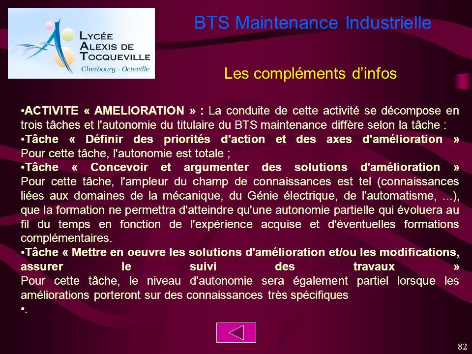 BTS Maintenance Industrielle 82 ACTIVITE « AMELIORATION » : La conduite de cette activité se décompose en trois tâches et l'autonomie du titulaire du