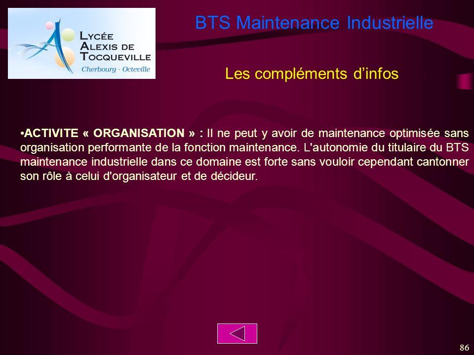 BTS Maintenance Industrielle 86 ACTIVITE « ORGANISATION » : Il ne peut y avoir de maintenance optimisée sans organisation performante de la fonction m