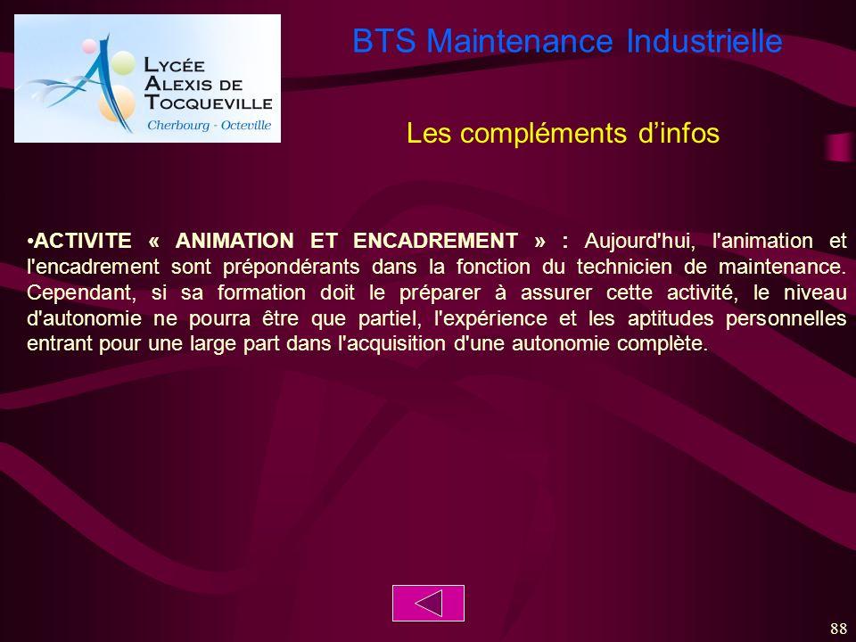 BTS Maintenance Industrielle 88 ACTIVITE « ANIMATION ET ENCADREMENT » : Aujourd'hui, l'animation et l'encadrement sont prépondérants dans la fonction