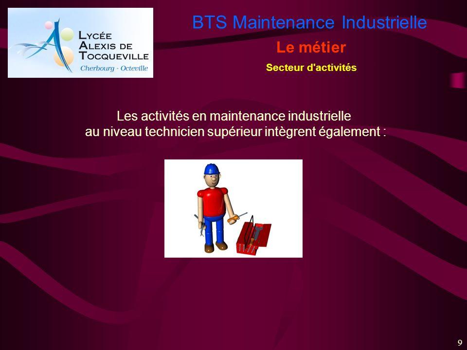 BTS Maintenance Industrielle 9 Le métier Secteur d'activités Les activités en maintenance industrielle au niveau technicien supérieur intègrent égalem