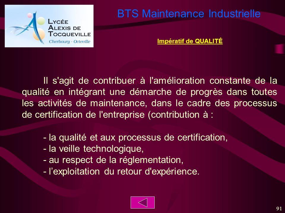 BTS Maintenance Industrielle 91 Il s'agit de contribuer à l'amélioration constante de la qualité en intégrant une démarche de progrès dans toutes les