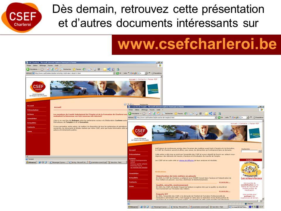 Dès demain, retrouvez cette présentation et dautres documents intéressants sur www.csefcharleroi.be