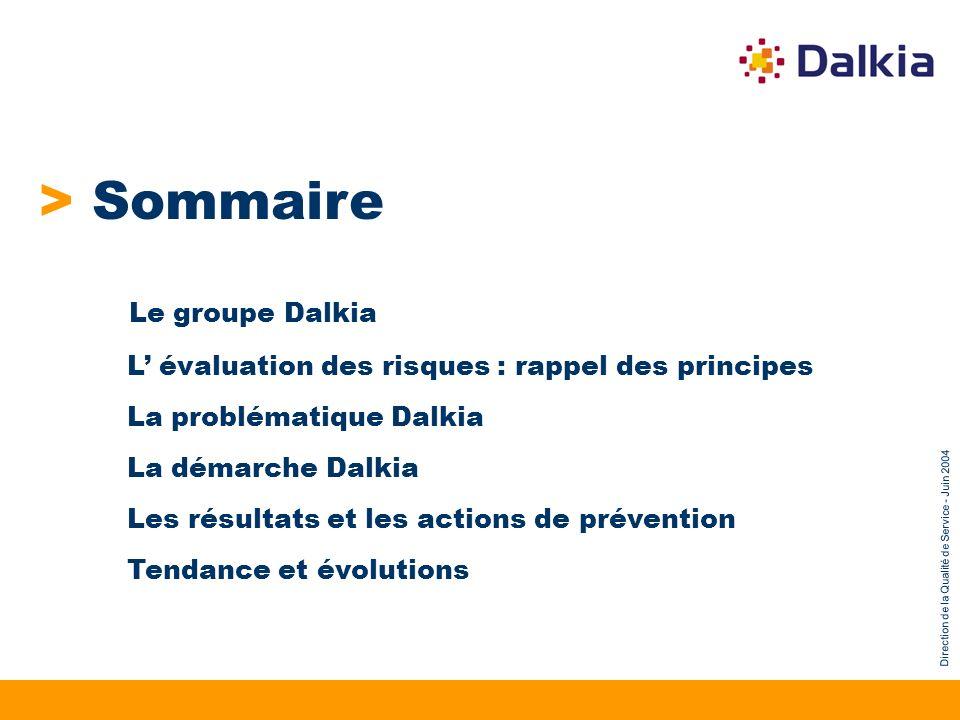 Direction de la Qualité de Service - Juin 2004 > Sommaire Le groupe Dalkia L évaluation des risques : rappel des principes La problématique Dalkia La