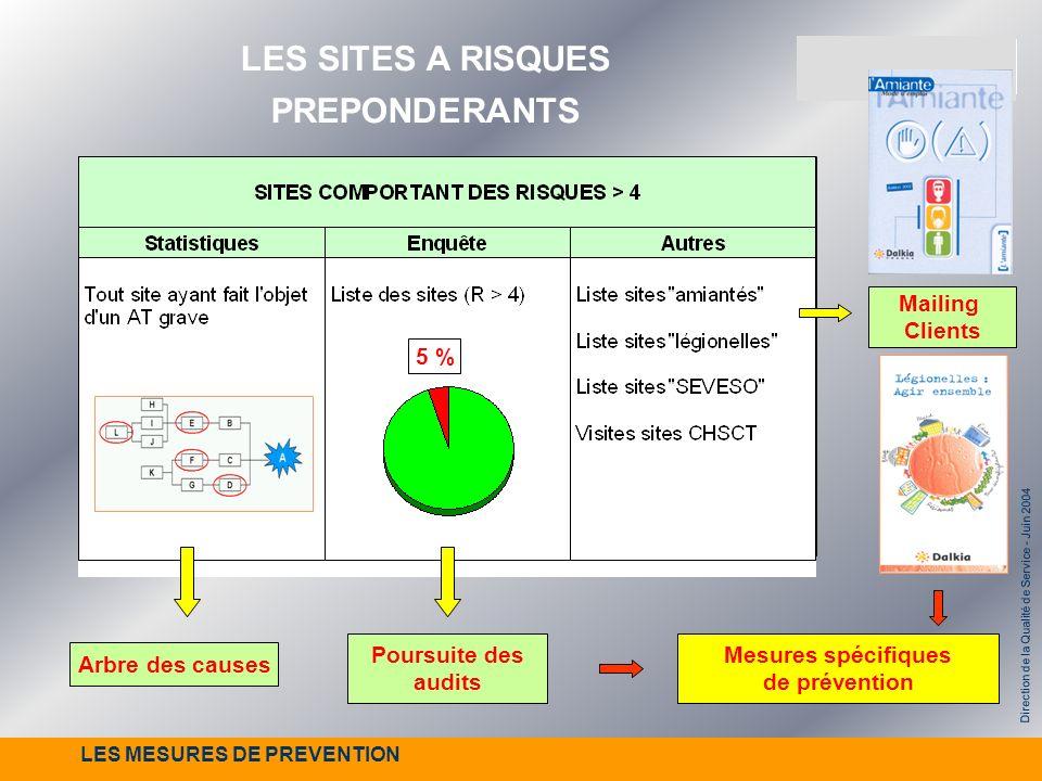 Direction de la Qualité de Service - Juin 2004 Poursuite des audits 5 % Mailing Clients Mesures spécifiques de prévention Arbre des causes LES SITES A