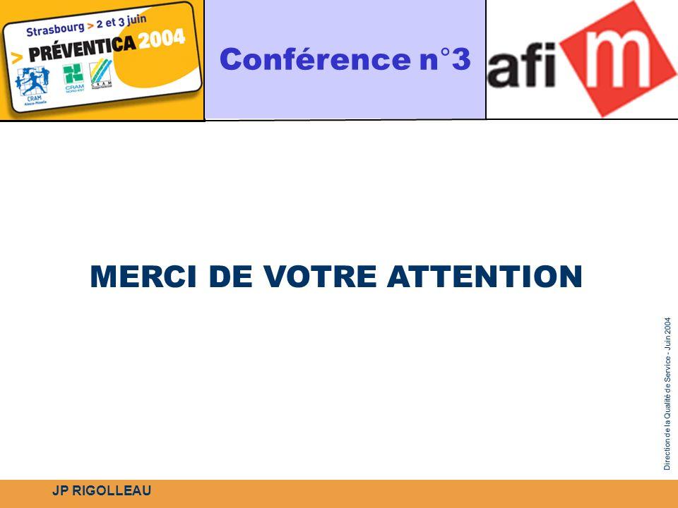 Direction de la Qualité de Service - Juin 2004 MERCI DE VOTRE ATTENTION Conférence n°3 JP RIGOLLEAU