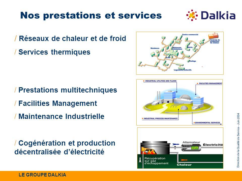 Direction de la Qualité de Service - Juin 2004 / Réseaux de chaleur et de froid / Services thermiques / Prestations multitechniques / Facilities Manag