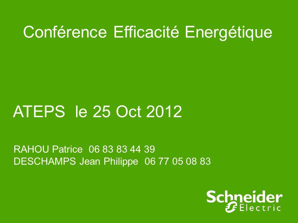 Conférence Efficacité Energétique ATEPS le 25 Oct 2012 RAHOU Patrice 06 83 83 44 39 DESCHAMPS Jean Philippe 06 77 05 08 83