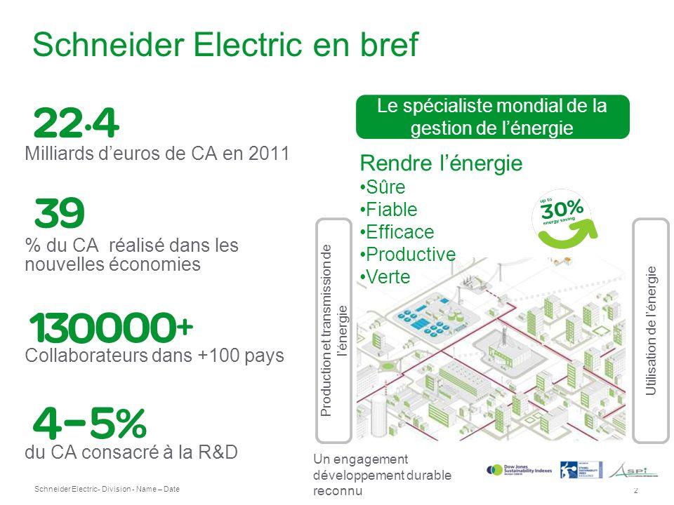 Schneider Electric 2 - Division - Name – Date Schneider Electric en bref Production et transmission de lénergie Rendre lénergie Sûre Fiable Efficace P