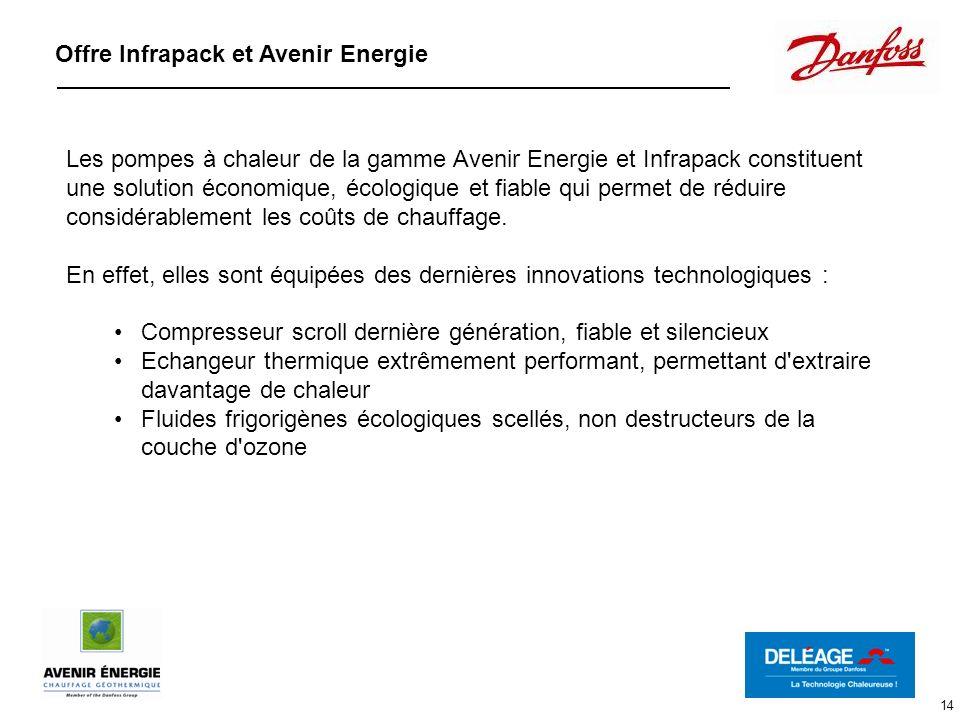 14 Offre Infrapack et Avenir Energie Les pompes à chaleur de la gamme Avenir Energie et Infrapack constituent une solution économique, écologique et f