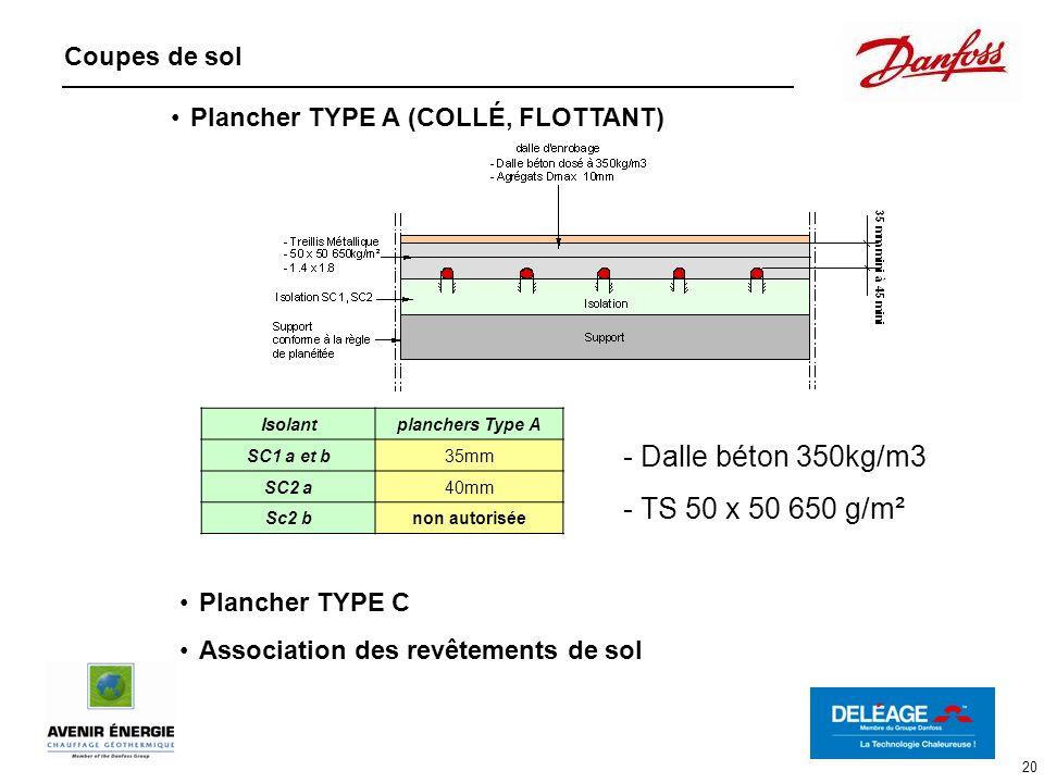 20 Coupes de sol Isolantplanchers Type A SC1 a et b35mm SC2 a40mm Sc2 bnon autorisée - Dalle béton 350kg/m3 - TS 50 x 50 650 g/m² Plancher TYPE A (COL