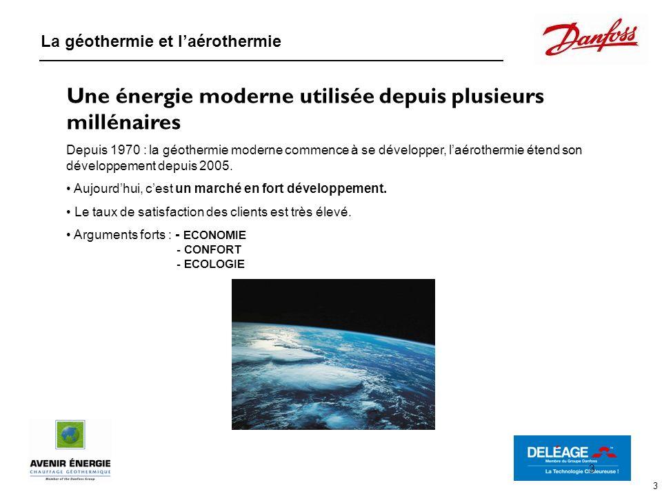 3 Une énergie moderne utilisée depuis plusieurs millénaires Depuis 1970 : la géothermie moderne commence à se développer, laérothermie étend son dével