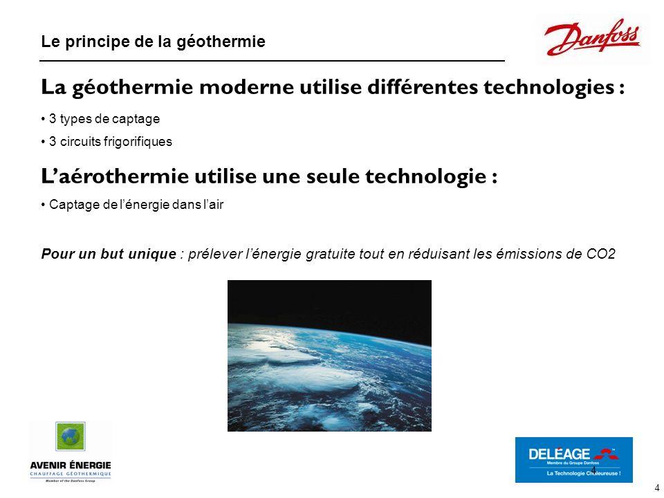 4 La géothermie moderne utilise différentes technologies : 3 types de captage 3 circuits frigorifiques Laérothermie utilise une seule technologie : Ca