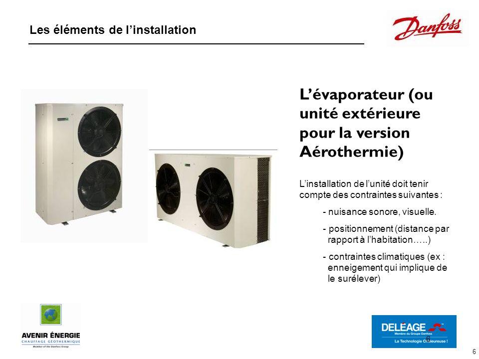 6 Lévaporateur (ou unité extérieure pour la version Aérothermie) Linstallation de lunité doit tenir compte des contraintes suivantes : - nuisance sono