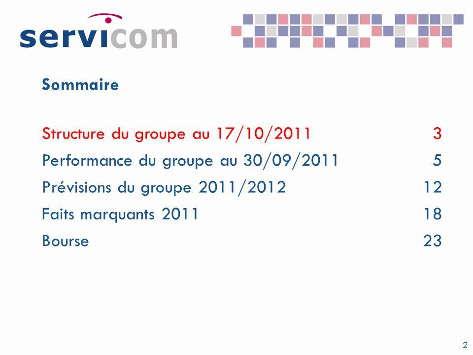 2 Sommaire Structure du groupe au 17/10/20113 Performance du groupe au 30/09/20115 Prévisions du groupe 2011/201212 Faits marquants 201118 Bourse23