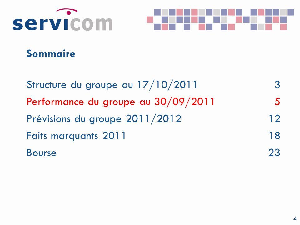 4 Sommaire Structure du groupe au 17/10/20113 Performance du groupe au 30/09/20115 Prévisions du groupe 2011/201212 Faits marquants 201118 Bourse23